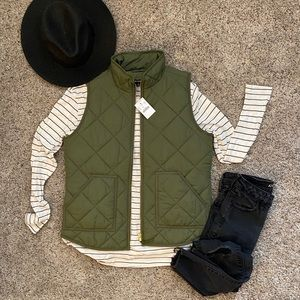 J. Crew Mercantile Green Quilted Vest